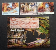 Malaysia Caves 2019 Sarawak Cave Painting Fauna Tourism Minerals Fish Bird Nest Insect (stamp + Ms MNH *die Cut *unusual - Malaysia (1964-...)