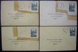 Lot De 4 Cartes Dont Trois Cachets De Porte Avions De 1958, Découpées Et Recollées (Belleau Béarn Lafayette) - Storia Postale