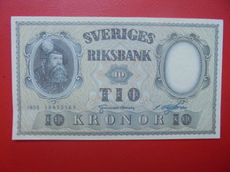 SUEDE 10 KRONOR 1955 PEU CIRCULER (B.6) - Suède
