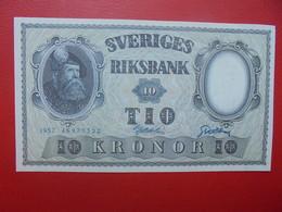 SUEDE 10 KRONOR 1957 PEU CIRCULER (B.6) - Suède