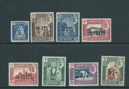 Aden Kathiri State Seiyun 1951 Surcharge Set Of 8 MLH - Aden (1854-1963)