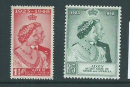 Aden Qu'aiti State Shihr Mukalla 1949 KGVI Silver Wedding Set 2 MLH , 5 Rupee Corner Crease - Aden (1854-1963)