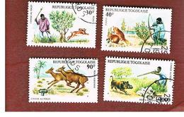 TOGO  - SG 1078.1081  -   1975 HUNTING   (COMPLET SET OF 4) - USED ° - Togo (1960-...)