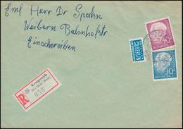 187 + 188 Heuss MiF Mit Notopfer R-Rrief KEMPENICH 30.12.55 Nach WEIBERN 30.12. - BRD