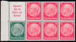 Hindenburg-Heftchenblatt 84B, Ungefaltet, Rechts Oben 3 Zähne Angetrennt, ** - Zusammendrucke