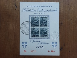 REPUBBLICA - Cartolina Ricordo Mostra Filatelica Di Milano 1946 - Perfins + Spese Postali - 6. 1946-.. Republik