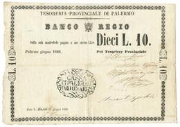 10 LIRE BANCO REGIO TESORERIA PROVINCIALE DI PALERMO 04/06/1866 QBB - Altri
