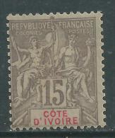Cote D'Ivoire N° 15  X Type Groupe : 15 C. Gris,  Trace De  Charnière Sinon TB - Nuovi