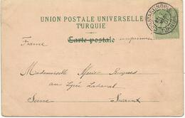 CARTE POSTALE 1901 AVEC  TIMBRE A 5 Ct AU TYPE SAGE ET CACHET  CONSTANTINOPLE TURQUIE - Unused Stamps