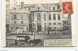 PARIS XX - Ile D'Amour - Mairie - 130 Rue De Belleville Démolie En 1874 - District 20