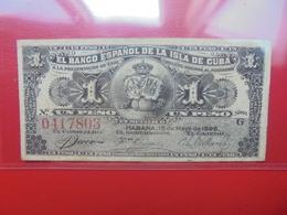 CUBA 1 PESO 1896 CIRCULER  (B.6) - Cuba