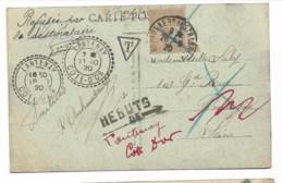 """DE Lantenay """"refusée Par Le Destinataire""""  Rebuts  1920  20c Recouvrement... - Portomarken"""