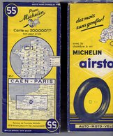 Carte Géographique MICHELIN - N° 055 CAEN - PARIS 1955 - Strassenkarten