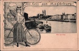 ! Alte Ansichtskarte Aus Magdeburg, All Heil, Elbe, Dom, Fahrrad, Bicycle - Magdeburg