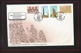 ZIMBABWE  1984  1984 Heroes' Day  FDC SET GIORNATA DEGLI EROI YVERT #61/70 - Zimbabwe (1980-...)