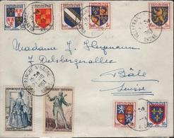 THEA-L35 - FRANCE N° 903+951/54+956/59 Sur Lettre De Villefranche S/Saône Pour Bâle 1953 - Frankreich