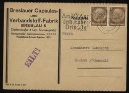 WW II Werbe Postkarte Breslau: Gebraucht Mit Werbestempel Breslau - Höchst 1938, Bedarfserhaltung. - Germany