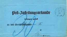 ALLEMAGNE. Post Bustellungsurkunde. Rod An Der Weil 1885. - Briefe U. Dokumente