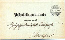 ALLEMAGNE. Post Bustellungsurkunde. Eschbach 1918. - Briefe U. Dokumente