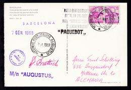 MOTONAVE POST. ITALIANA AUGUSTUS 7.1.1968 + L1 + Bordstempel Auf CAK - Stamps