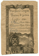 5 SCUTI REGIE FINANZE EMISSIONE SPECIALE SARDEGNA EMESSO 01/07/1781 MB/BB - Italia