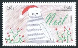 ST-PIERRE ET MIQUELON 2014 - Yv. 1122 **   Faciale= 0,66 EUR - Noël. Dessin D'enfant: Bonhomme De Neige  ..Réf.SPM11680 - St.Pierre & Miquelon