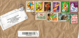 """Timbres Sur Fragment Lettre Recommandée France, Avec Rare Label """"SERVICE SUIVI NON ADMIS ANDORRA"""",timbre à Date Arrivée - Frankreich"""