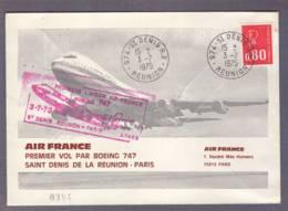 """Lettre *Air France"""" Aff. 80c M De Béquet Obl. St Denis 03.07.1975 -> Paris - Premier Vol  Boeing 747 St Denis-Paris - Storia Postale"""