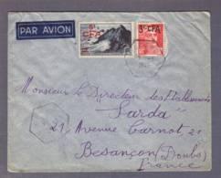 Lettre Par Avion   Aff. 5f Pointe De Raz + 3f Marianne De Gandon   Obl.  Vincendo 07.03.1949  ->Besançon - Réunion (1852-1975)