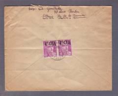 Lettre Par Avon   Aff.  Paire Du 4f Marianne De Gandon  Obl. St Denis 11.03.1949 -> Besançon - Réunion (1852-1975)