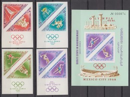Aden, Qu'aiti State In Hadhramaut, IMPERF MARGINS 1968 Mi # 206-13В; Bl 24В Mexico City Summer Olympics MNH OG - Sommer 1968: Mexico