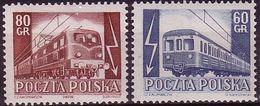 Poland 1954, Mi 837 - 838,  Electrification Of Railways, Train, Wagon. MNH** - Trenes