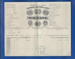 Facture  Fabrique De Cierges Et Bougies En Cire  X.A METZ    STRASBOURG   Année 1880 - Chemist's (drugstore) & Perfumery