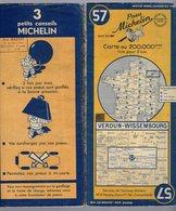 Carte Géographique MICHELIN - N° 057 VERDUN - WISSEMBOURG 1950 - Strassenkarten