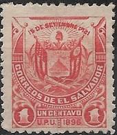 EL SALVADOR 1897 Arms - 1c - Red MH - El Salvador