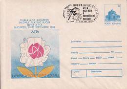 BUCHAREST, ARTSPHILATELIC EXHIBITION, COVER STATIONERY, 1988, ROMANIA - Marcofilia