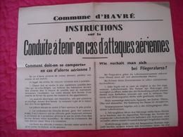 """Avis Officiel Communal """" Conduite Lors Attaques Aériennes """" 1941 - 1939-45"""