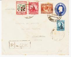 COLOMBIE , En 1936, Entier Et Complèment Recommandé  Pour Courbevoie . TB - Colombie