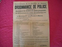 Ordonnance Officielle Provinciale Concernant Les Groupements Pro Nazis 1944 - 1939-45