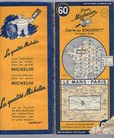 Carte Géographique MICHELIN - N° 060 LE MANS - PARIS 1953 - Strassenkarten
