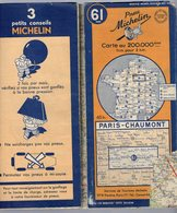 Carte Géographique MICHELIN - N° 061 PARIS - CHAUMONT 1949 - Cartes Routières