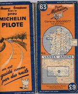 Carte Géographique MICHELIN - N° 063 VANNES-ANGERS - 1939 - Strassenkarten