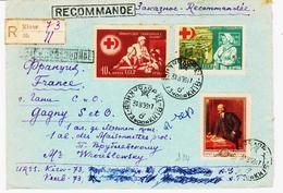 RUSSIE, De Kiew En 1956 Recommandé Avec Croix Et Croissant Rouge Et Lénine  TB - Lettres & Documents