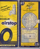 Carte Géographique MICHELIN - N° 063 VANNES - ANGERS - 1953 - Strassenkarten