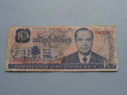 Diez Colones 10 ( D4023977 ) 12de Junio De 1974 - Banco Central De COSTA RICA ( For Grade, Please See Photo ) ! - Costa Rica