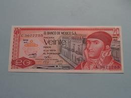VEINTE Pesos 20 ( C3677755 ) Serie AC - El Banco De MEXICO - 18 Jul 1973 ( For Grade, Please See Photo ) ! - Mexico