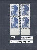 Variété Paire V. De 1982 Neuf** Y&T N° 2240 Bleu & Bleu-noir - Variedades Y Curiosidades
