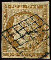 EMISSION DE 1849 - 1    10c. Bistre Jaune, Oblitéré GRILLE, TB - 1849-1850 Ceres
