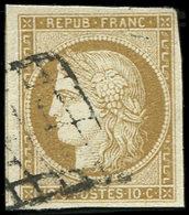 EMISSION DE 1849 - 1    10c. Bistre Jaune, Obl. GRILLE, TB - 1849-1850 Ceres