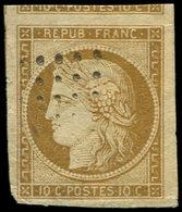EMISSION DE 1849 - 1    10c. Bistre-jaune, Obl. Légère, Petite Froissure Mais Marges énormes, Aspect TTB - 1849-1850 Ceres
